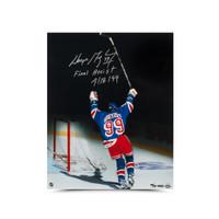"WAYNE GRETZKY Autographed & Inscribed ""Final Assist 4/18/99"" 16 X 20 UDA LE 99"