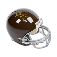 BRETT FAVRE Autographed Green Bay Packers Authentic Throwback Brown Helmet UDA LE 14