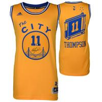 KLAY THOMPSON Golden State Warriors Autographed Hardwood Classic 'The City' Jersey FANATICS