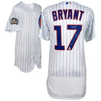 KRIS BRYANT Chicago Cubs 2016 MLB World Series Champions Autographed Majestic White Authentic World Series Jersey with 2016 WS Champs Inscription FANATICS