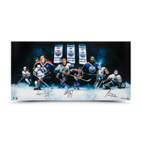 "WAYNE GRETZKY, PAUL COFFEY and GRANT FUHR Autographed 36 x 18 ""Outstanding Oilers""Inscribed Photo UDA LE 50"