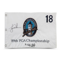 TIGER WOODS Autographed & Embroidered 2007 PGA Championship Pin Flag UDA LE 500
