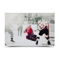 "WAYNE GRETZKY & PATRICK ROY Autographed ""1993 Stanley Cup, Game 4"" 24 x 16 Photo UDA"
