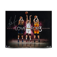 "KEVIN LOVE Autographed ""For Three"" 20 x 16 Photo UDA"