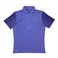 TIGER WOODS Autographed Nike Purple Haze Black Metallic Silver Polo UDA LE 25