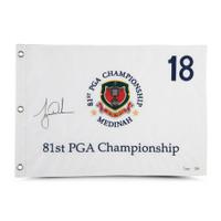 TIGER WOODS Autographed 1999 PGA Championship Pin Flag UDA