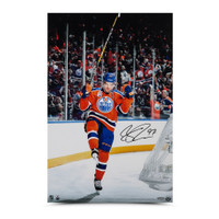 "CONNOR MCDAVID Autographed ""Home Opener Celebration"" 24 x 16 Photo UDA"