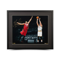 "KEVIN LOVE Autographed ""Corner Jumper"" 16 x 20 Framed Photo UDA"
