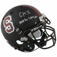 CHRISTIAN McCAFFREY Autographed Stanford Cardinal Stat Authentic Helmet FANATICS