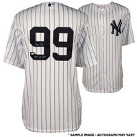 AARON JUDGE New York Yankees Autographed Majestic White Replica Jersey with 2017 AL ROY Inscription FANATICS
