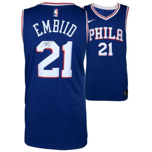 d56033b2d22 JOEL EMBIID Autographed Philadelphia 76ers Blue Nike Jersey FANATICS ...