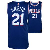 JOEL EMBIID Autographed Philadelphia 76ers Blue Nike Jersey FANATICS