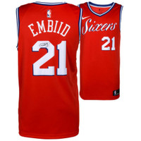 JOEL EMBIID Philadelphia 76ers Autographed Red Statement Nike Jersey FANATICS