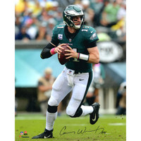 "CARSON WENTZ Philadelphia Eagles Autographed 16"" x 20"" 2017 Vertical Throwing Photograph FANATICS"
