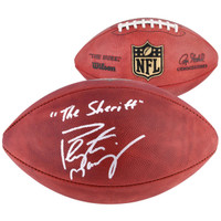 PEYTON MANNING Denver Broncos Autographed Duke Football with The Sheriff Inscription FANATICS