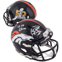 "PEYTON MANNING Denver Broncos Autographed Riddell Super Bowl 50 Champion Mini Helmet with ""SB 50 Champs"" Inscription FANATICS"