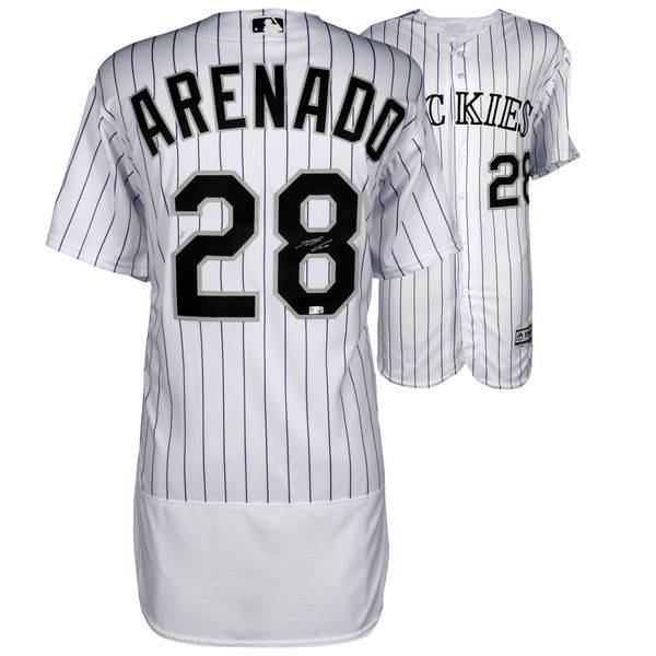 NOLAN ARENADO Colorado Rockies Autographed Majestic White Authentic ... bfbc8d5fd