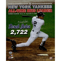 "DEREK JETER Autographed ""All Time Hits Leader"" 16 x 20 Photograph STEINER"