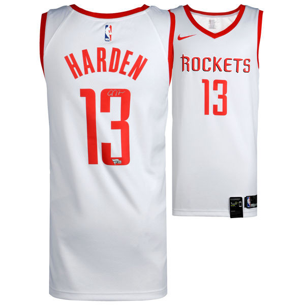 pretty nice 91b6e 31d96 JAMES HARDEN Houston Rockets Autographed Nike White Swingman Jersey FANATICS