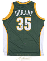 "KEVIN DURANT Autographed ""08 ROY"" Green Supersonics Jersey PANINI LE 135"