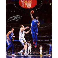 "JOEL EMBIID Autographed Philadelphia 76ers ""Dunk"" 16 x 20 Photograph FANATICS"