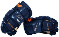 "CONNOR McDAVID Autographed / Inscribed ""16-17 MVP"" 2017 CCM Navy Gloves UDA"