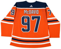 "CONNOR McDAVID Autographed ""Go Oilers"" Oilers Authentic Orange Jersey UDA LE 97"
