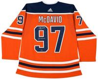 "CONNOR McDAVID Autographed ""Go Oilers"" Oilers Authentic Orange Jersey UDA LE 97"
