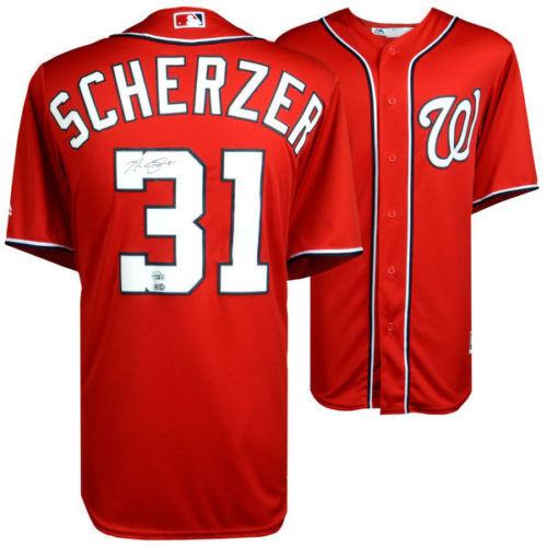 hot sale online f54ad ca25d MAX SCHERZER Autographed Washington Nationals Red Jersey FANATICS