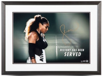 """SERENA WILLIAMS Signed Framed """"History Has Been Served"""" 24 x 20 Photo UDA LE 25"""