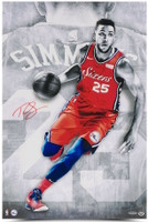 "BEN SIMMONS Autographed Philadelphia 76ers ""Driven"" 16"" x 24"" Photograph UDA"