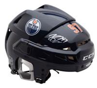 CONNOR McDAVID Autographed Edmonton Oilers CCM HTV08 Navy Helmet UDA
