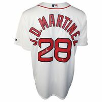 J.D. MARTINEZ Autographed Boston Red Sox White Cool Base Jersey STEINER