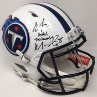 MARCUS MARIOTA Signed / Inscribed Full Name Titans Speed Helmet STEINER LE 1/8