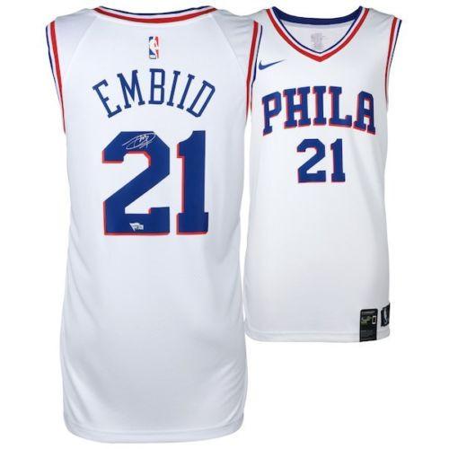 newest 5d052 811c3 JOEL EMBIID Philadelphia 76ers Autographed White Nike Jersey FANATICS