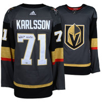 "WILLIAM KARLSSON Autographed/Inscribed ""Wild Bill"" Golden Knights Authentic Black Jersey FANATICS"