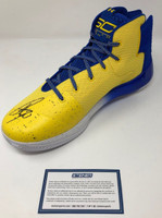 STEPHEN CURRY Autographed Warriors Curry 3 Under Armor Yellow Blue Shoe STEINER