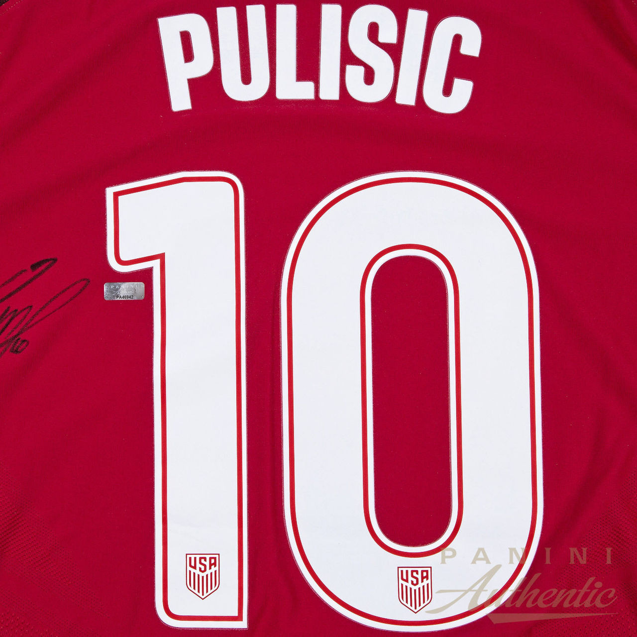 sports shoes b93ad 4d126 CHRISTIAN PULISIC Autographed Nike US Men's Red #10 Authentic Jersey PANINI