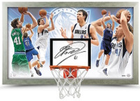 "DIRK NOWITZKI Autographed Mavericks ""The Dagger"" Backboard Display UDA LE 41"