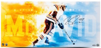 "CONNOR McDAVID Autographed Edmonton Oilers ""Fire Speed"" 12 x 26 Photograph UDA"