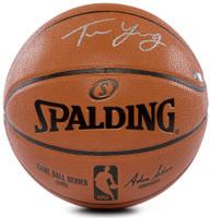 TRAE YOUNG Autographed (Silver) Atlanta Hawks Spalding Basketball PANINI