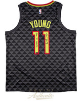 "TRAE YOUNG Autographed Hawks ""True To ATL"" Swingman Jersey PANINI LE 111"