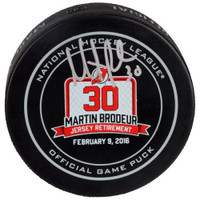 MARTIN BRODEUR Autographed New Jersey Devils Retirement Night Hockey Puck FANATICS