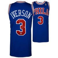 """ALLEN IVERSON Autographed 76ers """"HOF 16"""" Authentic Blue Jersey FANATICS"""