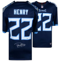 DERRICK HENRY Autographed Tennessee Titans Nike Navy Game Jersey FANATICS