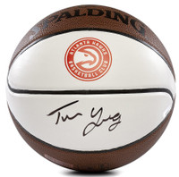 TRAE YOUNG Autographed Atlanta Hawks White Panel Spalding Basketball PANINI