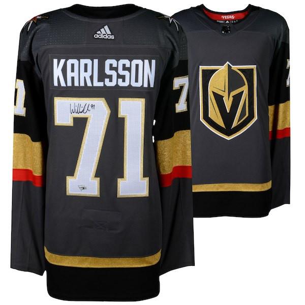 382190414 WILLIAM KARLSSON Autographed Las Vegas Golden Knights Black Adidas Authentic  Jersey FANATICS