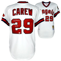 """ROD CAREW Autographed/Inscribed """"HOF 91"""" Los Angeles Angels White Mitchell & Ness Authentic Jersey FANATICS"""