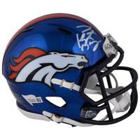 PEYTON MANNING Autographed Denver Broncos Autographed Riddell Chrome Alternate Speed Mini Helmet FANATICS