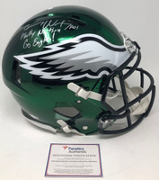 "CARSON WENTZ Autographed / Inscribed ""Go Eagles / Philly Nation"" Philadelphia Eagles Speed Authentic Chrome Helmet Limited Edition of 11 FANATICS"